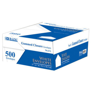 Bazic Products 506010 No. 6.75 White Envelope with Gummed Closure 500Box