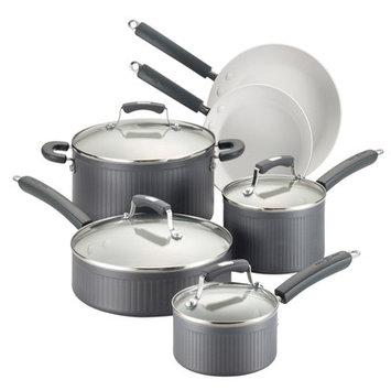 Meyer Corporation Paula Deen Savannah Collection Hard-Anodized Nonstick 10-Piece Cookware Set, Gray