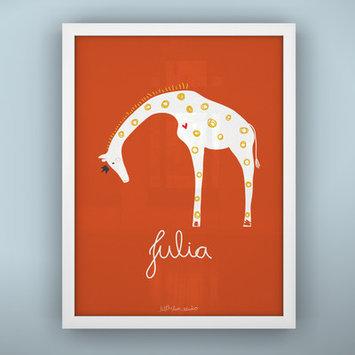 Littlelion Studio Prints Queen Giraffe Paper Print Color: Orange