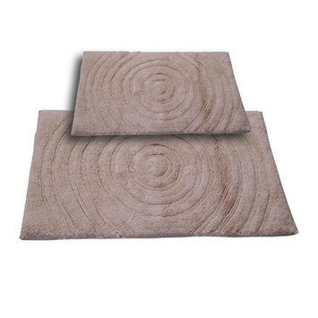 Textile Decor Castle 2 Piece 100% Cotton Echo Spray Latex Bath Rug Set, 34 H X 21 W and 40 H X 24 W, Natural