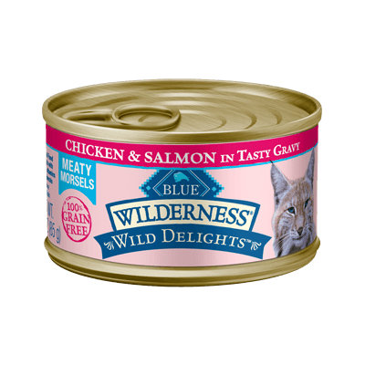 THE BLUE BUFFALO CO. BLUE™ Wilderness® Wild Delights™ Meaty Morsels Chicken & Salmon Recipe For Adult Cats