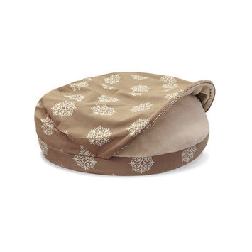 Precioustails Details Canvas Round Cave Hamburger Pet Bed with Plush Fleece Interior and Medallion Print Color: Taupe, Size: Medium (35