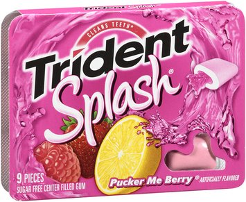 Trident Splash® Pucker Me Berry® Sugar Free Center Filled Gum 9 Pieces