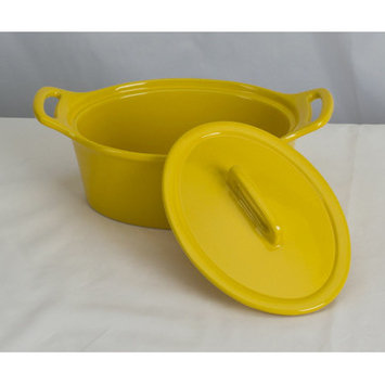 Omniware Stoneware Oval Casserole Color: Yellow, Size: Large