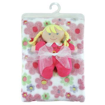 Stephan Baby Pink Floral Blanket & Blonde Doll Set