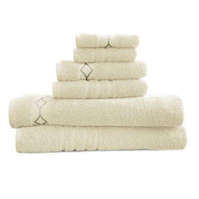 House Of Hampton Luxury 6 Piece Towel Set Color: Ivory / Gray