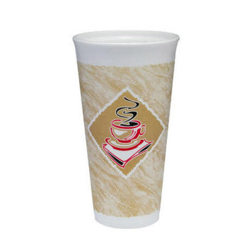 Dart 20 Oz Caf G Design Foam Hot / Cold Cups in White / Brown with Red Accents (Pack of 20)