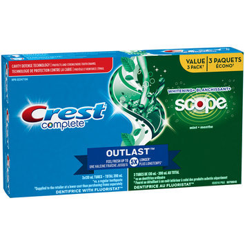 Whitening Plus Scope Crest Complete Whitening + Scope Outlast Mint Toothpaste, 130 mL TRIPLE