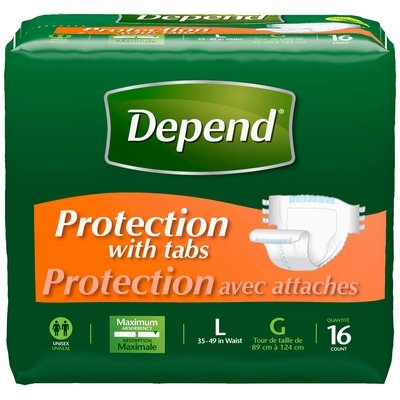 Depend® Protection with Tabs Maximum Absorbency Briefs L 16 ct Pack