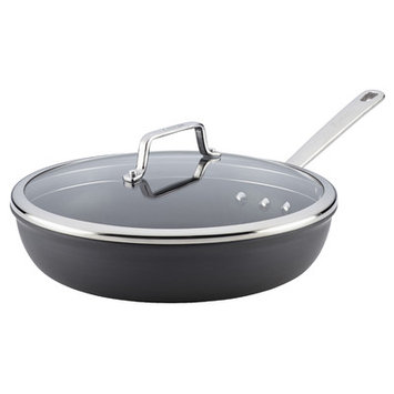 Anolon Authority Hard-Anodized Nonstick 12-1/2-Inch Covered Deep Skillet, Gray