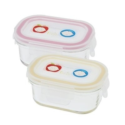 Innobaby Glass Rectangle Food Storage Container, 2 Pack, Yellow/Pink (Discontinued by Manufacturer)