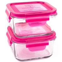 Wean Green 2-Pack Lunch Cubes Glass Food Containers, Raspberry