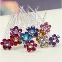 mollys corner Crystal flower Bridal, Sweet 16 or any other occasion, party Hair Pins. Wedding Jewelry!5 pins!red!!!