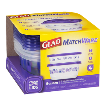 Glad MatchWare Square Containers & Lids - 4 CT
