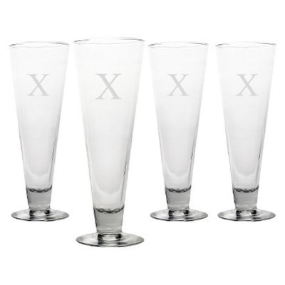 Cathy's Concepts Personalized Monogram Classic Pilsner Glass Set of 4 - X