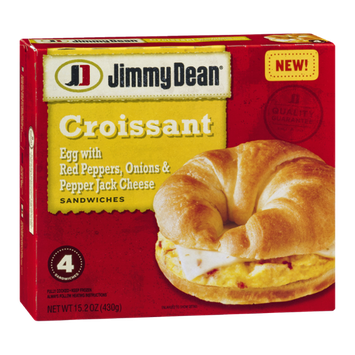 Jimmy Dean Croissant Sandwiches Egg with Red Peppers, Onions & Pepper Jack Cheese - 4 CT