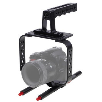 Yescomusa Oem DSLR Video Stabilizer Camera Cage w/ 15mm Rods + Top Handle Grip Photo Studio