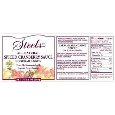 Steel's Gourmet Agave Spiced Cranberry Sauce