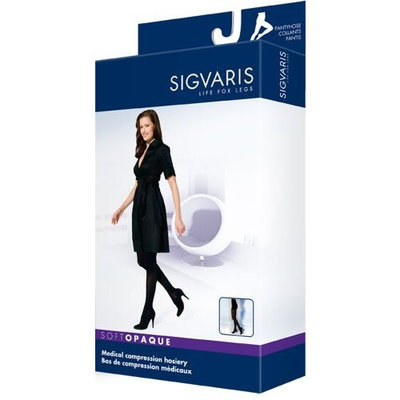 Sigvaris 842P Soft Opaque 20-30 mmHg Closed Toe Pantyhose Color: Black 99, Size: Small Long (SL)