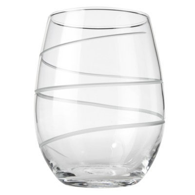 Rolf Glass Spiral Stemless White Wine Glass Set of 4 - 15oz.