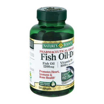 Nature's Bounty Pharmaceutical Grade Fish Oil + D3 1200mg/Vitamin D3 1000IU Dietary Supplement Softgels - 90 CT