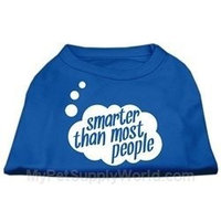 Ahi Smarter then Most People Screen Printed Dog Shirt Blue XS (8)