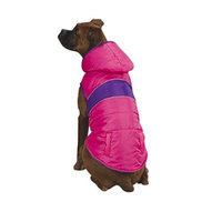 East Side Collection Polyester Brite Stripe Dog Parka, X-Small, 10-Inch, Pink