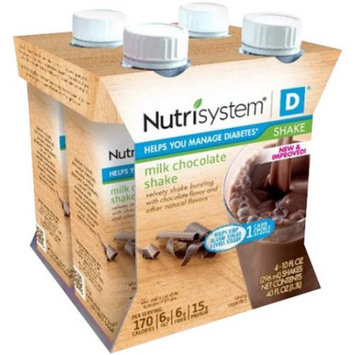 Nutrisystem D Milk Chocolate Shakes, 10 fl oz, 4 count, (Pack of 3)