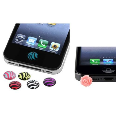 Insten INSTEN 6x Zebra Home Button Sticker+Pink Rose Headset Dust Cap For iPod Touch 1 2 3 4 5