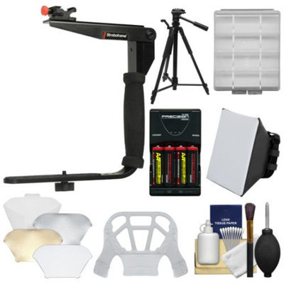 Stroboframe Quick Flip 350 Flash Bracket with Soft Box + Diffuser Bouncer + Batteries & Charger + Tripod + Accessory Kit