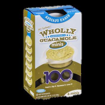 Wholly Guacamole Minis 100 Calorie Mini Cups Avocado Ranch - 6 CT