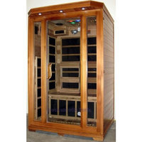 Decorate With Daria 2 Person Sauna Carbon FIR FAR Infrared Heaters Red Cedar Wood iPod/MP3 Aux Jack Input Inside and Outside Control Panels