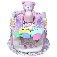 Baby Gift Idea One Tier Girl Diaper Cake, 1