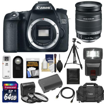 Canon EOS 70D Digital SLR Camera Body with 18-200mm IS Lens + 64GB Card + Battery + Case + 3 UV/CPL/ND8 Filters + Flash + Tripod + Kit