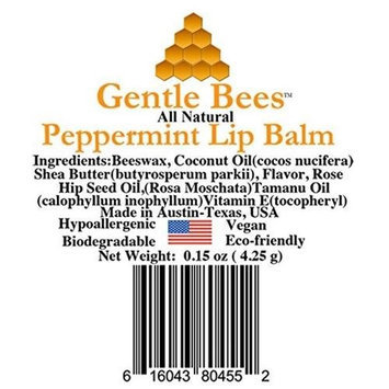 Gentle Bees 616043804552 Peppermint Lip Balm