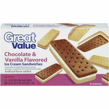 Great Value Chocolate & Vanilla Flavored Ice Cream Sandwiches