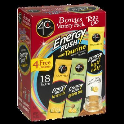 4C Totally Light Energy Rush Bonus Variety Pack Tea 2 Go Packets - 18 CT