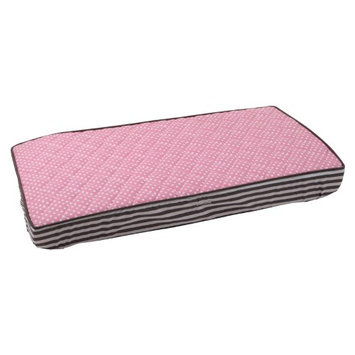 Bacati Pin Dots Changing Pad Cover, Elephant Pink/Grey