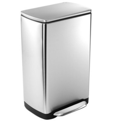 simplehuman Wide-Step Rectangular Can Fingerprint-Proof Stainless Steel, Brushed, 10 gallons, 1 ea