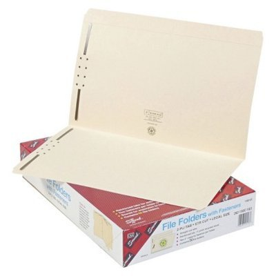Smead Straight Cut Top Tabs Legal Folders with Two Fasteners- Manila
