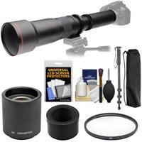 Vivitar 650-1300mm f/8-16 Telephoto Lens with 2x Teleconverter (=2600mm) + Monopod + Filter Kit for Nikon 1 J1, J2, J3, J4, S1, V1, V2, V3 Cameras