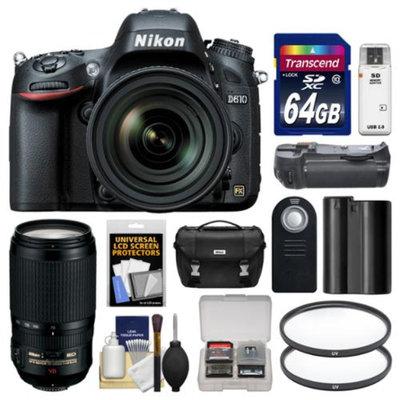 Nikon D610 Digital SLR Camera & 24-85mm VR AF-S Zoom Lens with 70-300mm VR AF-S Lens + 64GB Card + Case + Grip + Battery + Filters Kit