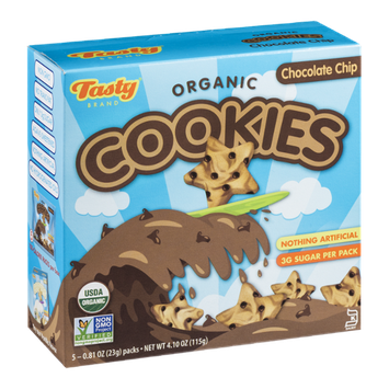 Tasty Brand Organic Cookies Chocolate Chip - 5 PK