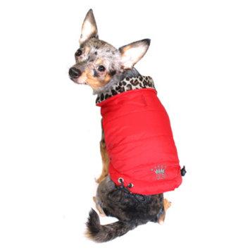 Hip Doggie Inc Hip Doggie Reversible Puffer Vest - Red/Leopard, XL