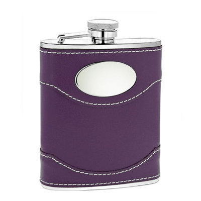 6 oz Purple Leather Flask with Engraving Plate