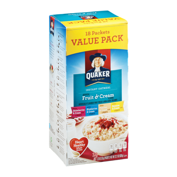 Quaker Instant Oatmeal Fruit & Cream Variety - 18 CT
