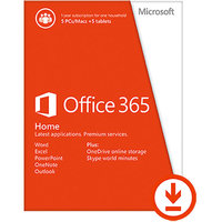 Microsoft Office 365 Home- 5 PCs/Macs + 5 Tablets/iPads, 1- year subscription (Download)