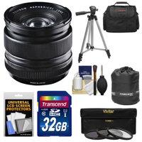 Fujifilm 14mm f/2.8 XF R Lens with 32GB Card + 3 UV/CPL/ND8 Filters + Case + Tripod Kit for Fuji X-A1, X-E1, X-E2, X-M1, X-Pro1 Digital Cameras