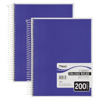 Mead 5 Subject Notebook - College Rule - 200 Sheets (2 Per Pack)