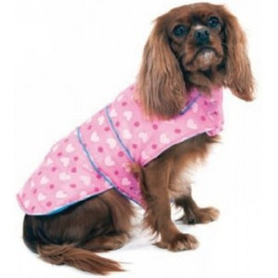 Fashion Pet Lookin Good Heart Puffy Blanket Coat for Dogs, X-Small
